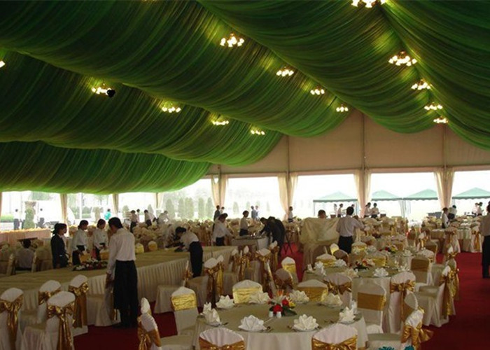 Fire Retardant Wedding Event Tents With Drapery Decoration White Pvc Coating